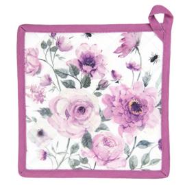 Pannenlap rozen en vlinders roze