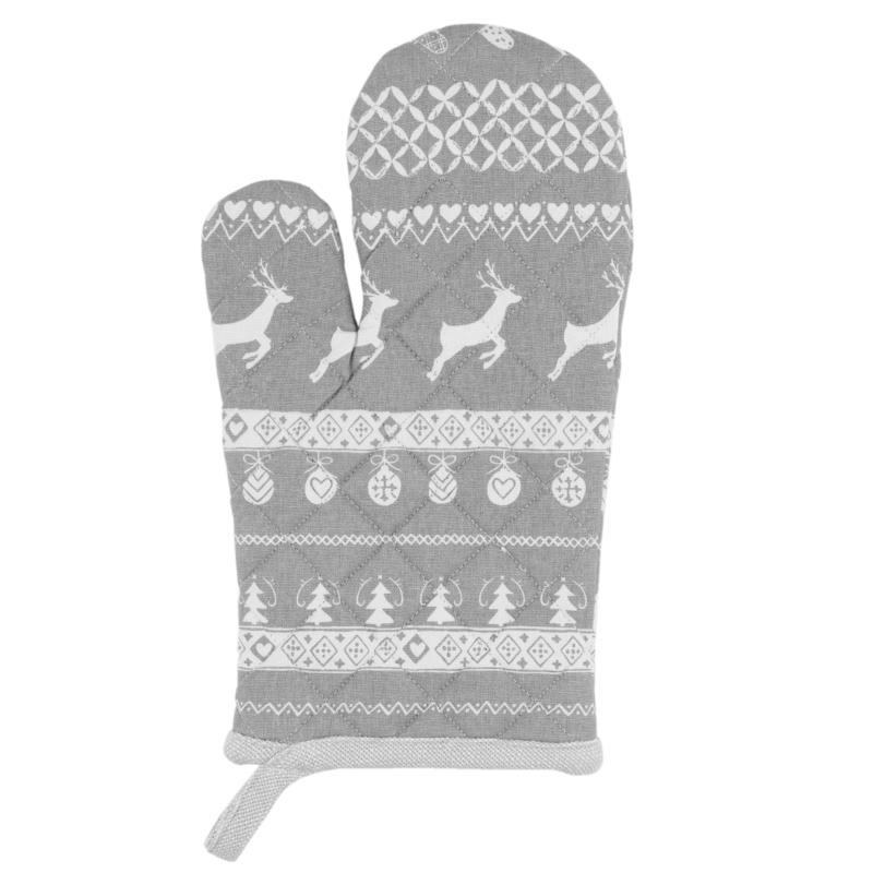 Ovenhandschoen kerst grijs