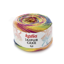 Katia Jaipur Cake - 406 Bleekrood - Nachtblauw - Geel - Pistache