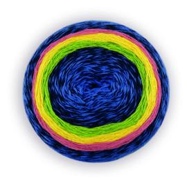 Katia Flash Rainbow - 104 Blauw-Groen-Geel-Rood