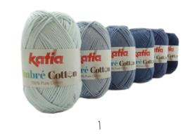 Katia Ombre Cotton - 01 Hemelsblauw-Licht blauw-Licht jeans-Blauw-Jeans-Donker blauw