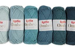 Katia Halsdoek OMBRÉ - 09 Waterblauw-Hemelsblauw-Oceaanblauw-Groenblauw-Staalblauw-Donker turquoise