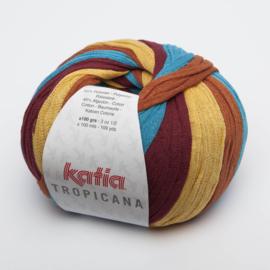 Katia Tropicana - 305 Groenblauw-Wijnrood-Pasteloranje