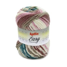 Katia Easy Jacquard - 351 Groenblauw - Bleekrood