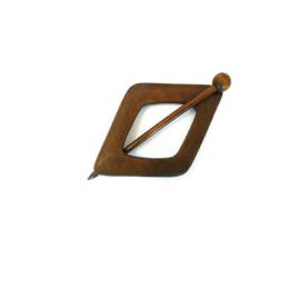 Donker houten ruiten sjaalspeld, doorsnee 10 cm