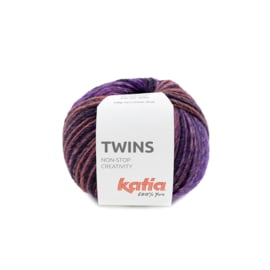 Katia Twins - 154 Bleekrood - Parelmoer - Lichtviolet - Kaki - Wijnrood