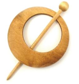 Blank houten ronde sjaalspeld doorsnee 8 cm (asymmetrisch)