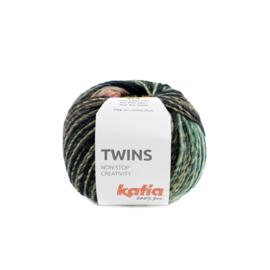 Katia Twins - 156 Turquoise - Geel - Koraal