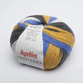 Katia Tropicana - 308 Blauw-Oker-Wit-Medium grijs