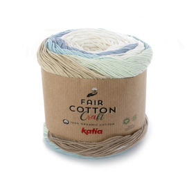 Katia - Fair Cotton Craft 502 Wit-Beige-Witgroen-Waterblauw