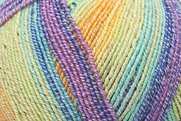 Katia Jaipur Socks - 52 Geel-Blauw-Medium paars-Pistache