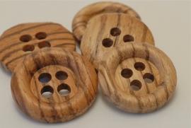 Houten bruine knoop vanaf 22mm - 4 gaats