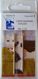 2 Brei- Haakwerk naalden No. 1 + 3