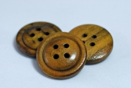 Houten bruine knoop 20mm - 4 gaats
