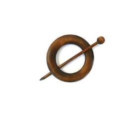 Bruin houten ronde sjaalspeld doorsnee 8 cm
