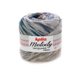 Katia Melody Jacquard Print - 502 Grijs-Oker-Groenblauw-Parelmoer-lichtviolet