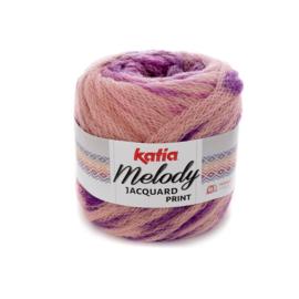 Katia Melody Jacquard Print - 501 Bleekrood-Parelmoer-lichtviolet-Lila-Medium bleekrood