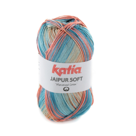Katia - Jaipur Soft 104 Waterblauw - Steengrijs - Bleekrood