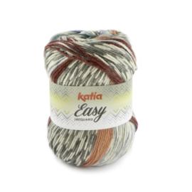 Katia Easy Jacquard - 105 Grijs - Groenblauw - Bordeauxpaars - Medium bleekrood