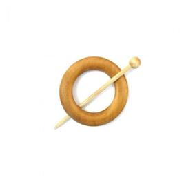 Blank houten ronde sjaalspeld doorsnee 8 cm