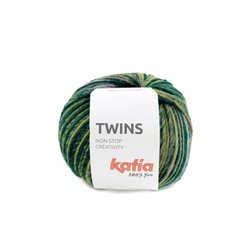 Katia Twins - 155 Blauw - Grijs - Mosterdgeel - Wijnrood