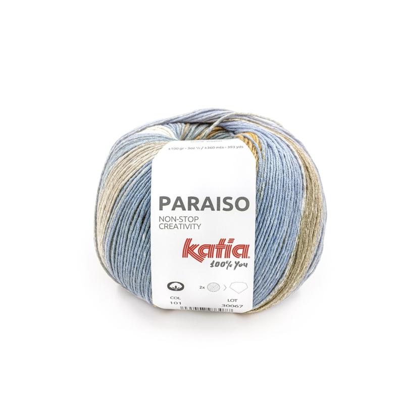 Katia Paraiso - 101 Medium Paars - Citroengeel - Camel - Kaki
