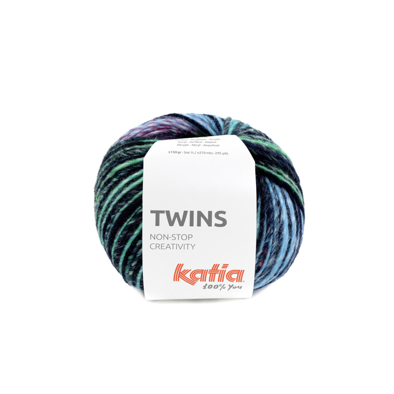 Katia Twins - 158 Geel - Groen - Blauw - Fuchsia