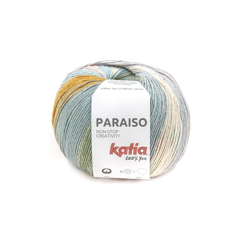 Katia Paraiso - 102 Groen - Waterblauw - Bleekrood