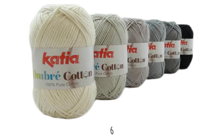 Katia Ombre Cotton - 06 Ecru-Licht grijs-Grijs-Medium grijs-Antracietgrijs-Zwart