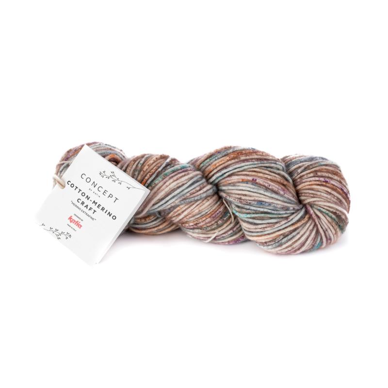 Katia Concept - Cotton-Merino Craft - 203 Bruin-Lila-Turquoise