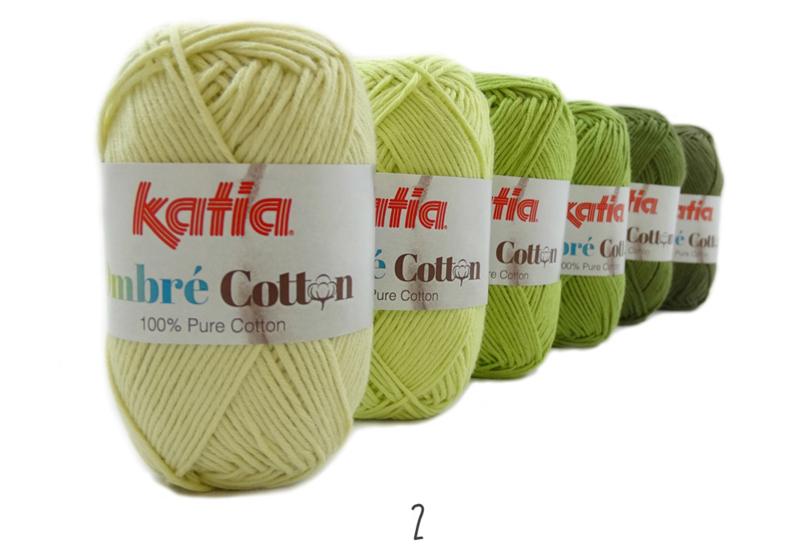 Katia Ombre Cotton - 02 Geelgroen-Pistache-Groen-Medium groen-Dennegroen-Mosgroen