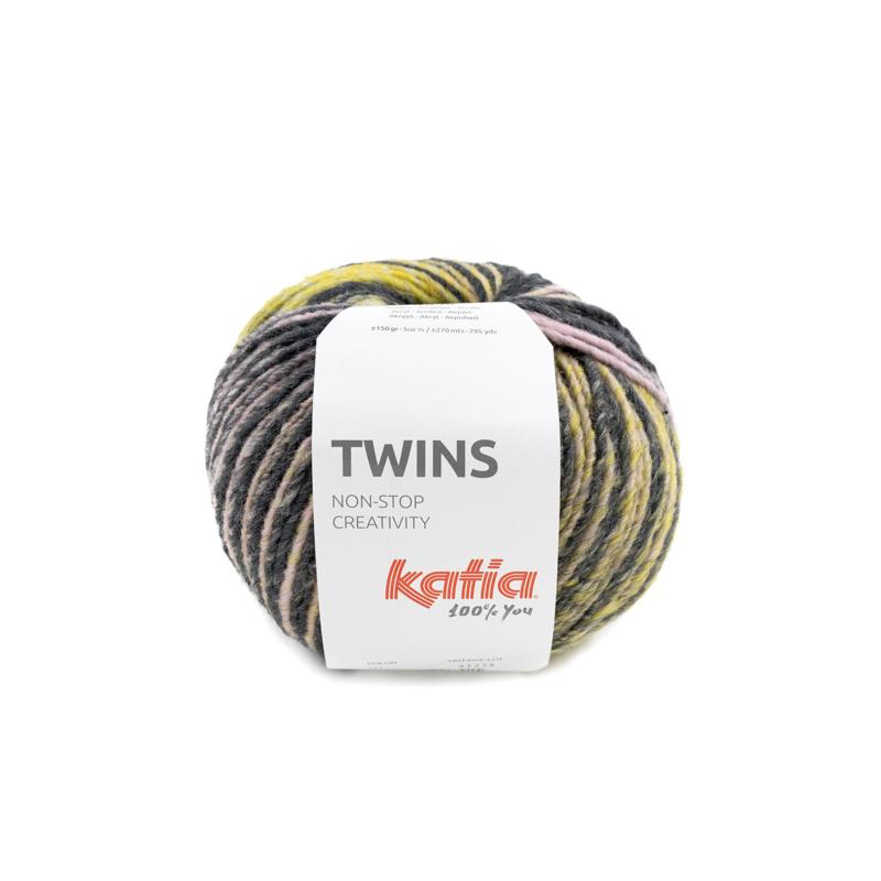 Katia Twins - 151 Oker - Bleekrood - Blauw