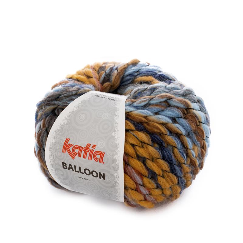 Katia Balloon - 56 Camel - Licht Blauw - Blauw - Mosterdgeel