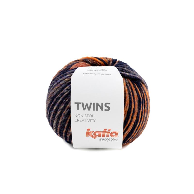Katia Twins - 157 Bordeauxpaars - Oranje - Blauw