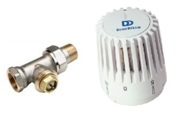 DD Recht Thermo Radiatorkraan met Thermostaat Kop + knelset 15 mm