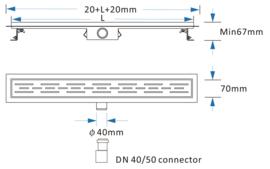 Titan 60SF RVS Drain / Douchegoot 60 cm + Flens (BODY) Zij-uitlaat