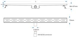 Titan 120S RVS Drain / Douchegoot 120 cm (BODY) Zij-uitlaat