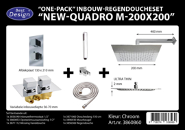 BD New Quadro M200x200 One-Pack Inbouw Regendoucheset 3860860