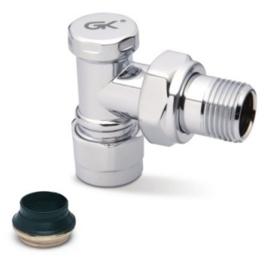 GK Verchroomd Haaks Voetventiel (15 mm) O-ring