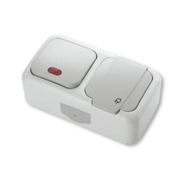 Combinatie Schakelaar met controlelamp / WCD+RA 90555599 Hori. Palmiye Grijs