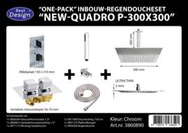 BD New Quadro P300x300 One-Pack Inbouw Regendoucheset 3860890