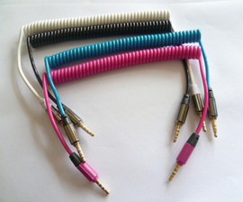 spiral audio cable  pink  jack 3.5 stereo