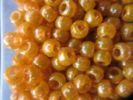 Oranje glitter pony kralen per 25