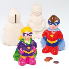 2 superhelden spaarpotten van Keramiek