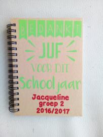 Notitieboekje bedankt einde schooljaar