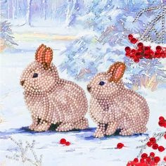 Crystal Art Card Winter bunnies