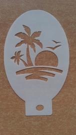 Palmboom en ondergaande zon (kleiner)