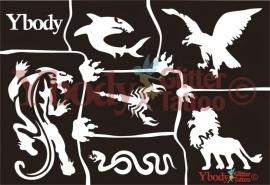 A5 Wild animals stencil
