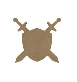 Schild met sabels  6 mm dik, 15 cm