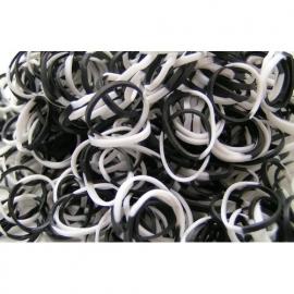 Combi zwart/witte elastiekjes ± 600 stuks + 24 clips
